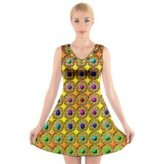 Background Tile Kaleidoscope V Neck Sleeveless Skater Dress