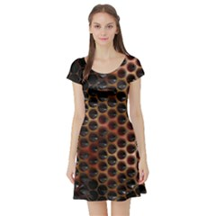 Beehive Pattern Short Sleeve Skater Dress