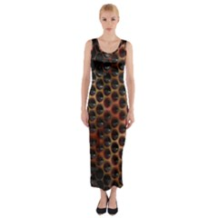 Beehive Pattern Fitted Maxi Dress
