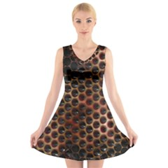 Beehive Pattern V Neck Sleeveless Skater Dress