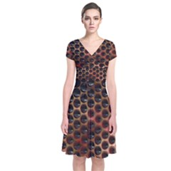 Beehive Pattern Short Sleeve Front Wrap Dress