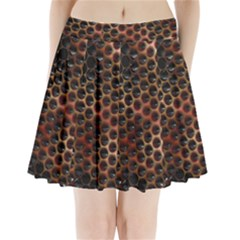 Beehive Pattern Pleated Mini Skirt