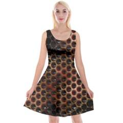 Beehive Pattern Reversible Velvet Sleeveless Dress