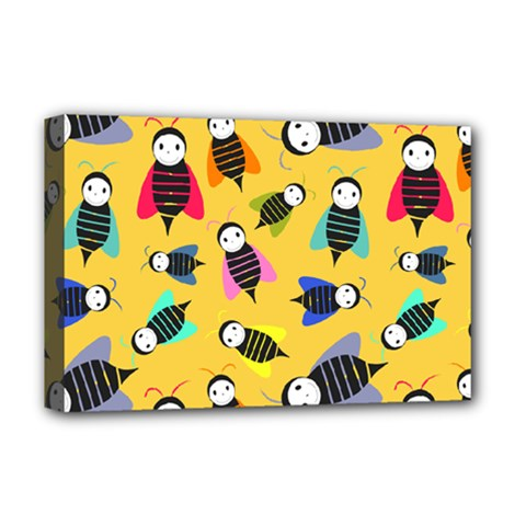 Bees Animal Pattern Deluxe Canvas 18  x 12