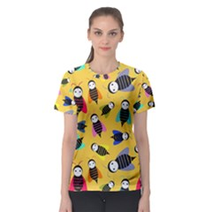 Bees Animal Pattern Women s Sport Mesh Tee