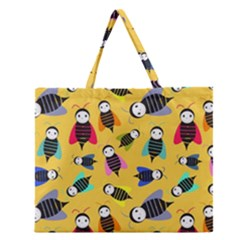 Bees Animal Pattern Zipper Large Tote Bag