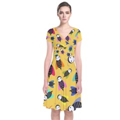 Bees Animal Pattern Short Sleeve Front Wrap Dress