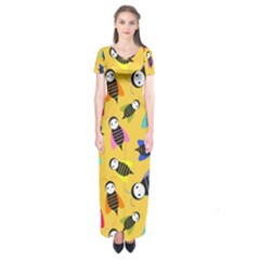Bees Animal Pattern Short Sleeve Maxi Dress