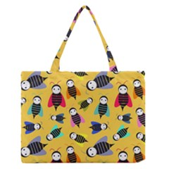 Bees Animal Pattern Medium Zipper Tote Bag
