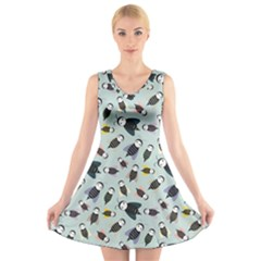 Bees Animal Pattern V Neck Sleeveless Skater Dress