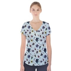Bees Animal Pattern Short Sleeve Front Detail Top