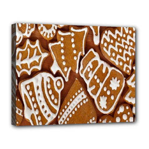Biscuit Brown Christmas Cookie Canvas 14  x 11