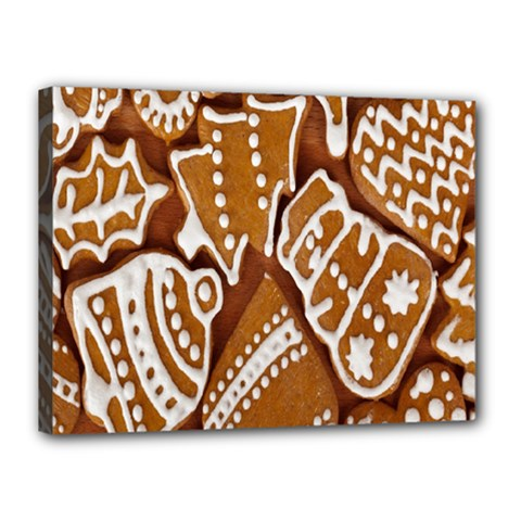 Biscuit Brown Christmas Cookie Canvas 16  x 12