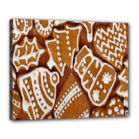 Biscuit Brown Christmas Cookie Canvas 20  x 16
