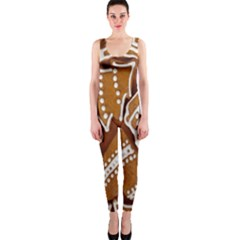 Biscuit Brown Christmas Cookie Onepiece Catsuit