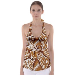 Biscuit Brown Christmas Cookie Babydoll Tankini Top