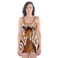 Biscuit Brown Christmas Cookie Skater Dress Swimsuit