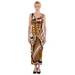 Biscuit Brown Christmas Cookie Fitted Maxi Dress