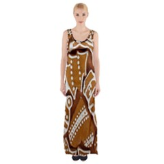 Biscuit Brown Christmas Cookie Maxi Thigh Split Dress