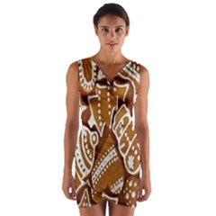 Biscuit Brown Christmas Cookie Wrap Front Bodycon Dress