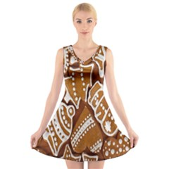 Biscuit Brown Christmas Cookie V Neck Sleeveless Skater Dress