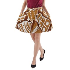 Biscuit Brown Christmas Cookie A-Line Pocket Skirt