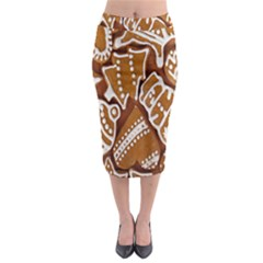 Biscuit Brown Christmas Cookie Midi Pencil Skirt
