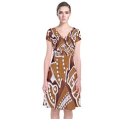 Biscuit Brown Christmas Cookie Short Sleeve Front Wrap Dress