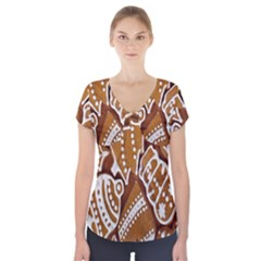 Biscuit Brown Christmas Cookie Short Sleeve Front Detail Top