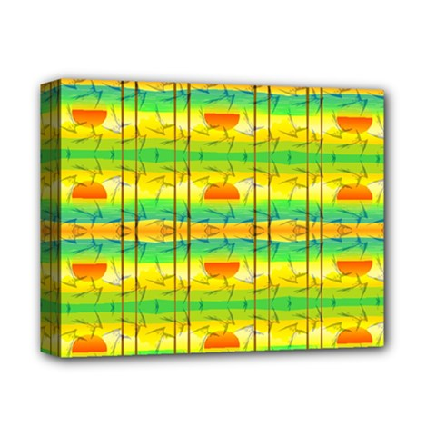 Birds Beach Sun Abstract Pattern Deluxe Canvas 14  x 11