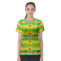 Birds Beach Sun Abstract Pattern Women s Sport Mesh Tee