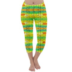 Birds Beach Sun Abstract Pattern Capri Winter Leggings