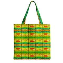 Birds Beach Sun Abstract Pattern Zipper Grocery Tote Bag