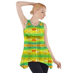 Birds Beach Sun Abstract Pattern Side Drop Tank Tunic