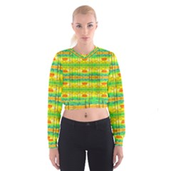 Birds Beach Sun Abstract Pattern Women s Cropped Sweatshirt