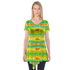 Birds Beach Sun Abstract Pattern Short Sleeve Tunic