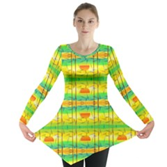 Birds Beach Sun Abstract Pattern Long Sleeve Tunic