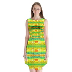 Birds Beach Sun Abstract Pattern Sleeveless Chiffon Dress