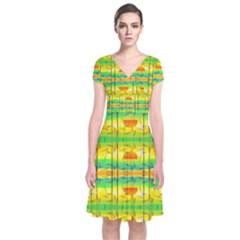 Birds Beach Sun Abstract Pattern Short Sleeve Front Wrap Dress
