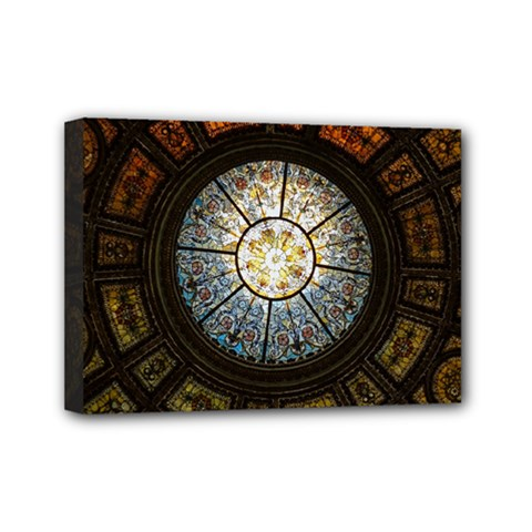 Black And Borwn Stained Glass Dome Roof Mini Canvas 7  x 5