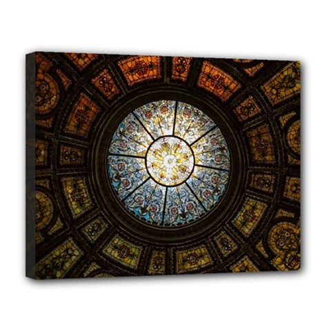 Black And Borwn Stained Glass Dome Roof Canvas 14  x 11