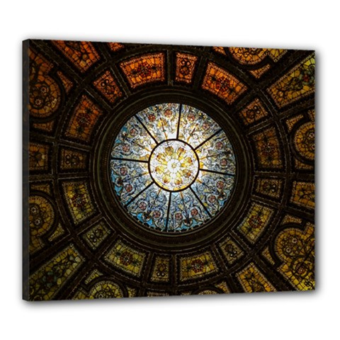 Black And Borwn Stained Glass Dome Roof Canvas 24  x 20