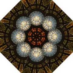 Black And Borwn Stained Glass Dome Roof Folding Umbrellas