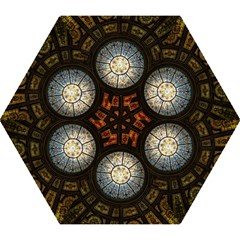Black And Borwn Stained Glass Dome Roof Mini Folding Umbrellas