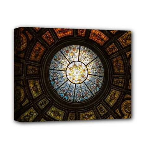 Black And Borwn Stained Glass Dome Roof Deluxe Canvas 14  x 11