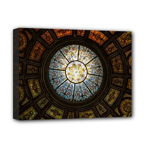Black And Borwn Stained Glass Dome Roof Deluxe Canvas 16  X 12