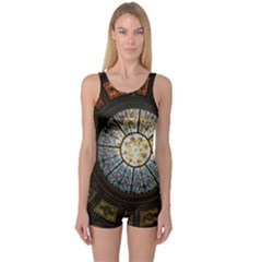 Black And Borwn Stained Glass Dome Roof One Piece Boyleg Swimsuit