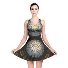 Black And Borwn Stained Glass Dome Roof Reversible Skater Dress