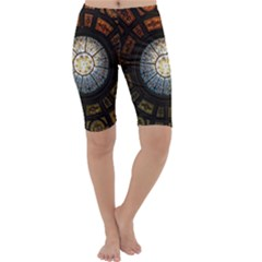 Black And Borwn Stained Glass Dome Roof Cropped Leggings