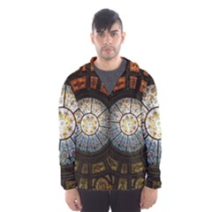 Black And Borwn Stained Glass Dome Roof Hooded Wind Breaker (Men)